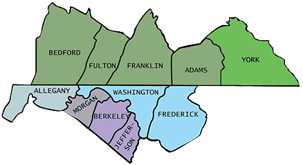 Relationships of York, Jefferson, and Frederick Counties.