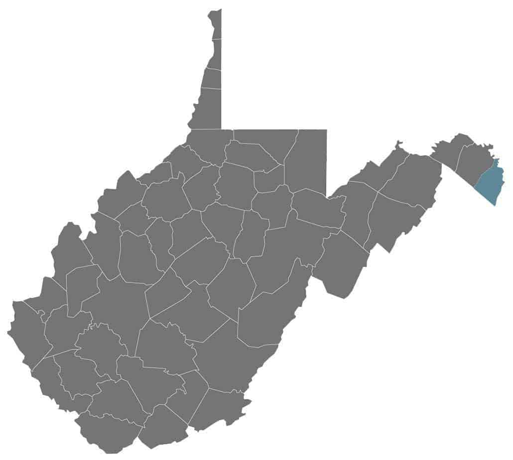 Jefferson County in relation to the state of West Virginia.